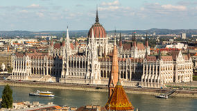 View of Hungarian Parliament Building on the bank of the Danube in Budapest. Royalty Free Stock Images