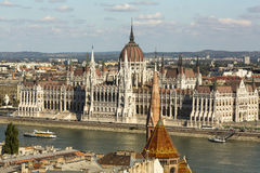 View of Hungarian Parliament Building on the bank of Danube in Budapest. Travel. Royalty Free Stock Image