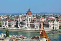 View of Hungarian Parliament Building in Budapest Stock Photo