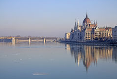 View on the Hungarian Parliament Building, Budapest, Hungary. February 2012 Stock Photo