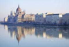 View on the Hungarian Parliament Building, Budapest, Hungary. February 2012 Stock Image