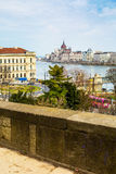 View of Hungarian Parliament building and Danube river, Budapest Royalty Free Stock Images
