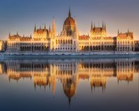 Building of Hungarian Parliament in Budapest Stock Photography