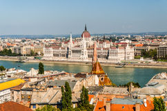 View of Hungarian Parliament Building. Panoramic view of Hungarian Parliament with Danube River, from Buda Castle, Hungary Royalty Free Stock Photography