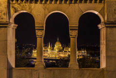 View of the Hungarian Parliament from the Fisherman's Bastion Stock Photography