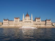 View of the Hungarian Parliament, Orszaghaz, and the Danube river royalty free stock photo