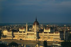 Hungarian building of Parliament in Budapest royalty free stock photography