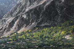 View of Hunza Valley, Pakistan. The Hunza is a mountainous valley in the Gilgit-Baltistan region of Pakistan. The Hunza is situated in the extreme northern part Stock Photos