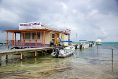 View of Hurricane's Ceviche Bar in San Pedro, Ambergris Caye, Belize Royalty Free Stock Images