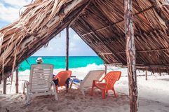 Hut on paradies beach of Playa Blanca on Island Baru by Cartagena in Colombia. View on hut on paradies beach of Playa Blanca on Island Baru by Cartagena in royalty free stock photos