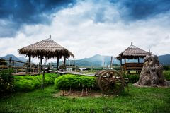 Hut in Wat Phuket with mountain background. View of hut in Wat Phuket with mountain background royalty free stock photo