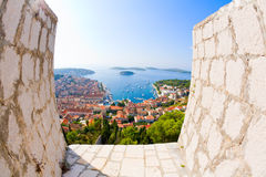 View of Hvar. Fisheye view of the city of Hvar in Croatia from the Citadel Stock Image