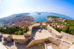 View of Hvar. Fisheye view of the city of Hvar in Croatia from the Citadel Royalty Free Stock Photos