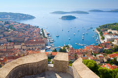 View of Hvar. View of the city of Hvar in Croatia from the Citadel Stock Photography