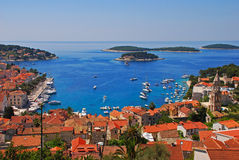 View of Hvar City and Pakleni Islands from Castle above the Hill. View of Hvar City, Port and Pakleni Islands from Castle above the Hill with Blue Cloudless Sky stock photos