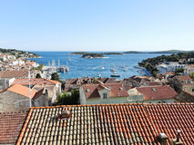 View of Hvar town on island in Adriatic Sea Stock Image