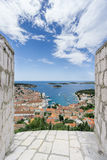 View of Hvar Town from the Spanjola Fortress. The view of the historic Hvar Town from the lofty heights of the Spanjola Spanish Fortress which sits high above Royalty Free Stock Images
