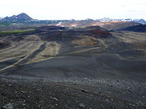View from Hverfjall Volcano Crater on Iceland. Volcanic landscape. View from Hverfjall (Hverfell) Volcano in Iceland Stock Image