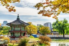 View of Hyangwonjeong Pavilion of Gyeongbokgung Palace in Seoul stock photography