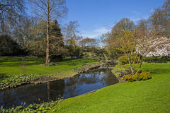 View in Hyde Park, London. A panoramic view of a little waterfall and river in Hyde Park in London Royalty Free Stock Image