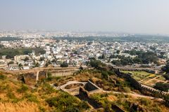 View of Hyderabad cityscape from Golkonda fort walls. Hyderabad, India stock photography