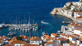 View of the Hydra island Marina, Greece. Nature. royalty free stock images