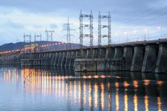 View on hydroelectric station. View on hydroelectric power station Stock Photo