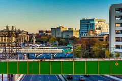 View of I-83 and buildings from a bridge in Baltimore, Maryland. View of I-83 and buildings from a bridge in Baltimore, Maryland royalty free stock photo
