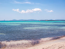 View of Ibiza from Ses Illetes beach Stock Image