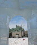 View from ice castle. View from window of ice castle at Quebec City Carnaval Royalty Free Stock Photos