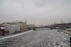 Moscow river in winter. View of the ice drift of the Moscow river on the bridge Stock Image