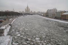 Moscow river in winter. View of the ice drift of the Moscow river on the bridge Stock Photo