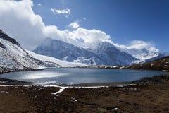 View of Ice lake Kicho Tal 4600 m. Himalayas, Nepal, Annapurna Circuit.  stock images