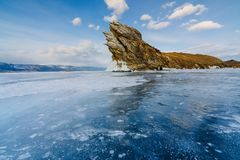 View from ice lake on Ogoy island. Baikal Siberia stock image