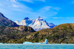 View of ice mountain and river with iceberg floating in the water Stock Image