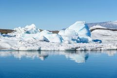 View of icebergs in glacier lagoon, Iceland, global warming conc stock photos