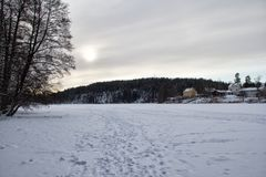 View of iced lake royalty free stock photography