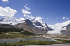 View from icefields parkway to the columbia icefield Royalty Free Stock Image