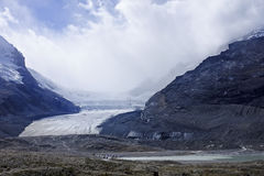 View from icefields parkway to the columbia icefield Royalty Free Stock Photo