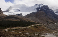View from icefields parkway to the columbia icefield Royalty Free Stock Photos