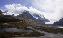 View from icefields parkway to the columbia icefield Royalty Free Stock Photography