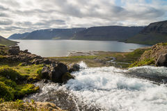 View on iceland fjord from Dynjandi waterfall Royalty Free Stock Image