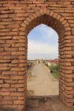 View from Ichan Kala fortress to the gate in Khiva city, Uzbekistan Royalty Free Stock Image
