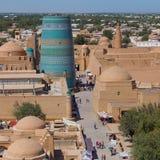 View of Ichon-Qala, the old town of Khiva, Uzbekistan. Royalty Free Stock Image
