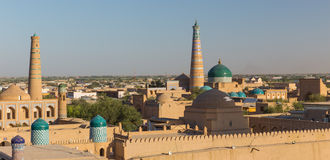 View of Ichon-Qala, the old town of Khiva, Uzbekistan. View of Ichon-Qala, the old town of Khiva from the watchtower of the Khuna Ark, in Uzbekistan stock photo