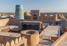View of Ichon-Qala, the old town of Khiva, Uzbekistan. View of Ichon-Qala, the old town of Khiva from the watchtower of the Khuna Ark, in Uzbekistan royalty free stock photography