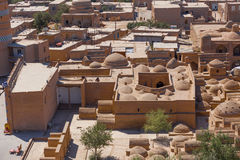 View of Ichon-Qala, the old town of Khiva, Uzbekistan. View of Ichon-Qala, the old town of Khiva from the watchtower of the Khuna Ark, in Uzbekistan stock photography