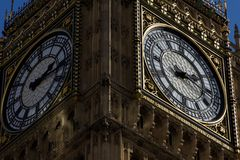 View of the Iconic Clock Face of Big Ben at the Houses of Parlia Stock Photo