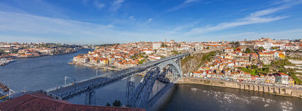 View of the iconic Dom Luis I bridge crossing the Douro River Stock Photo