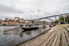 Porto, Portugal - July 2017. View of the iconic Dom Luis I bridge crossing the Douro River, and the historical Ribeira and Se Dist. View of the iconic Dom Luis I Stock Photography
